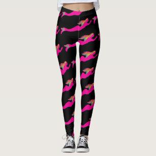 08f2911e2a636 pink swimming mermaids Thunder_Cove black Leggings