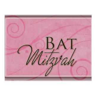 Pink swirl Bat Mitzvah Design Post Card