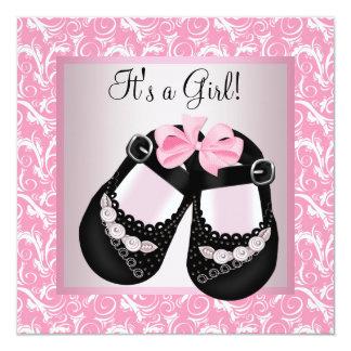 Pink Swirl Black Shoes Pink Black Baby Girl Shower 13 Cm X 13 Cm Square Invitation Card
