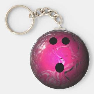 Pink Swirl Bowling Ball Basic Round Button Key Ring