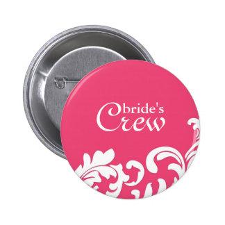 PInk Swirl Bride's Crew Button