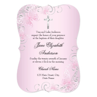 Pink Swirl Butterfly & Cross Baptism Invitation
