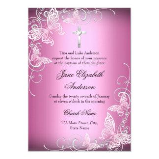 Pink Swirl Butterfly & Cross Baptism Invite