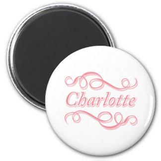 Pink Swirl Charlotte 6 Cm Round Magnet