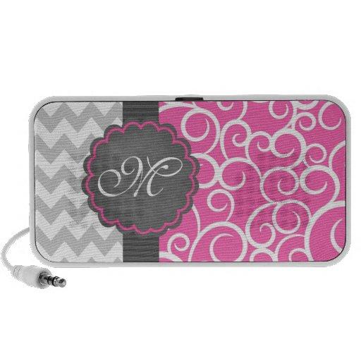 Pink Swirl & Chevron Monogrammed Doodle Travel Speakers