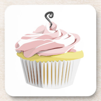 Pink swirl cupcake cork coaster