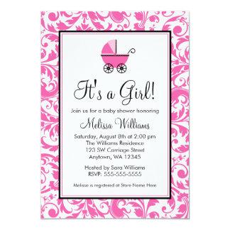 Pink Swirl Damask Carriage Girl Baby Shower Card