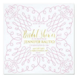 PINK SWIRL GOLD - BRIDAL SHOWER INVITE