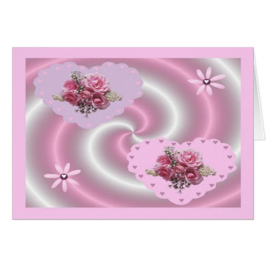 PINK SWIRL HEART CARD