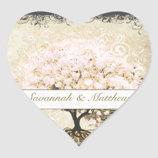 Pink Swirl Heart Leaf Tree Wedding Seal