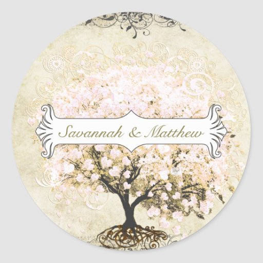 Pink Swirl Heart Leaf Tree Wedding Seal Round Stickers