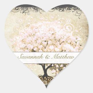 Pink Swirl Heart Leaf Tree Wedding Seal Heart Stickers