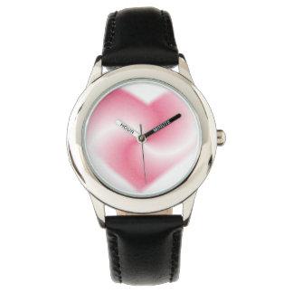Pink Swirl Heart Wristwatches