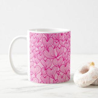 Pink swirl hearts pattern Mug