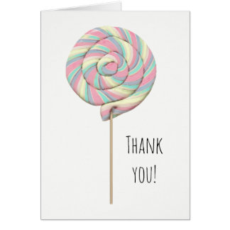 Pink Swirl Lollipop Greeting Card