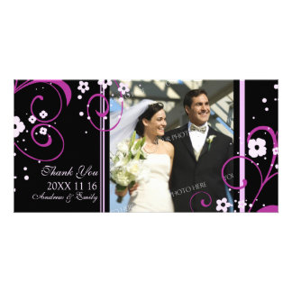 Pink Swirl Thank You Wedding Photo Cards