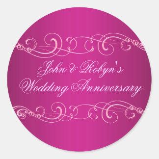 Pink Swirl Wedding Anniversary Envelope Sticker
