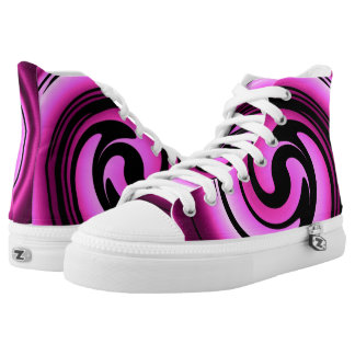 Pink Swirl ZIPZ High Top Shoes Printed Shoes