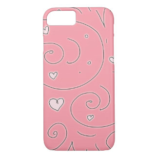 Pink Swirlies and Hearts Girly Doodle Art iPhone 7 Case