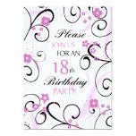 Pink Swirls 18th Birthday Party Invitation Card