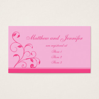 Pink Swirls and Curls Wedding Gift Registry Cards