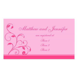 Pink Swirls and Curls Wedding Gift Registry Cards Pack Of Standard Business Cards