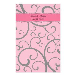 Pink swirls and diamonds wedding favors customized stationery