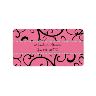 Pink swirls and diamonds wedding favors address label