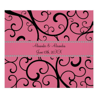 Pink swirls and diamonds wedding favors poster