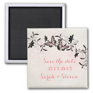 Pink Swirls Butterfly Romantic Save the date Magnet