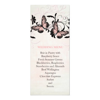 Pink Swirls Butterfly Romantic Wedding Menu 10 Cm X 24 Cm Invitation Card