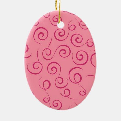 Pink Swirls Christmas Tree Ornaments