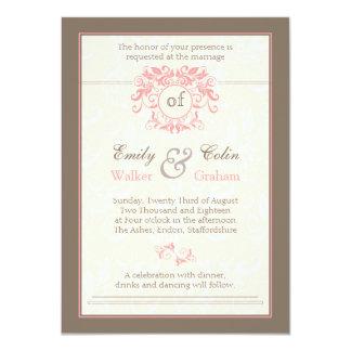 Pink swirls on pale cream damask Wedding Card