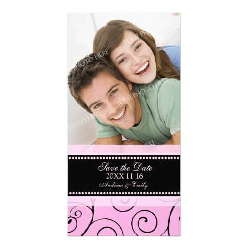 Pink Swirls Save the Date Wedding Photo Cards