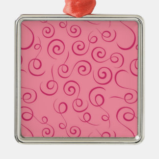 Pink Swirls Silver-Colored Square Decoration