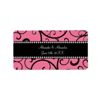 pink swirls wedding favors address label