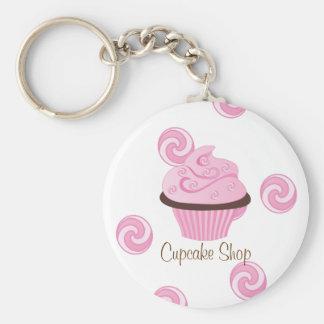 Pink Swirly Cake Key Ring