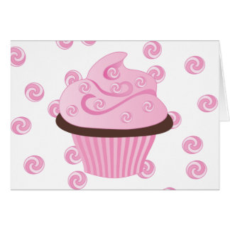 Pink Swirly Cake with Sprinkles Card