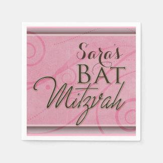 Pink swirly designer Bat Mitzvah Disposable Serviettes