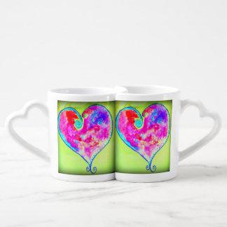 pink swirly hearts couples mug