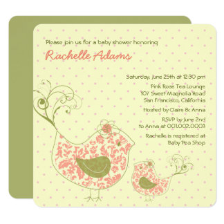 Pink Swirly Mom & Baby Bird Baby Shower Invitation