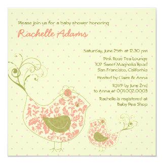 Pink Swirly Mum & Baby Bird Baby Shower Invitation
