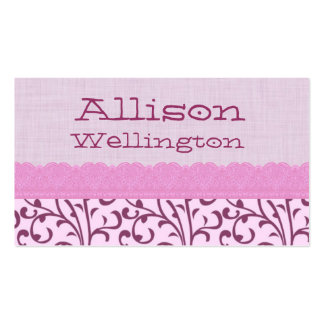 Pink Swirly Pattern and Lace Mommy Play Date Business Card Templates