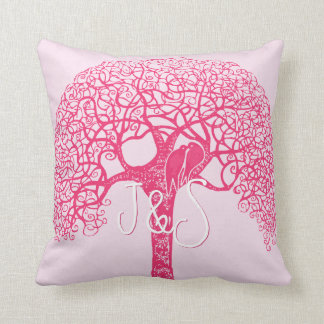 Pink Swirly Tree Love Bird Choose Any Color Pillow