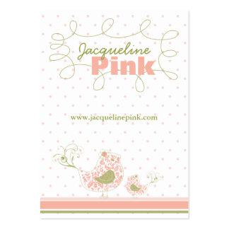 Pink Swirly Whimsical Birds Custom Business Card