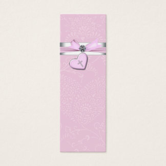 Pink Swril Heart Pink Cross Bomboniere Tags
