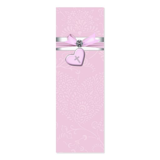 Pink Swril Heart Pink Cross Bomboniere Tags Business Card