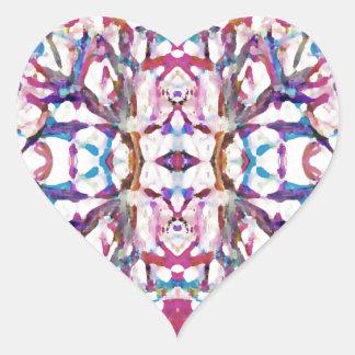 Pink Symmetrical Pattern Heart Sticker