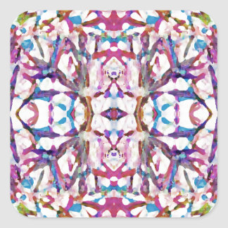 Pink Symmetrical Pattern Square Sticker