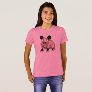 pink t-shirt with handpainted opossum